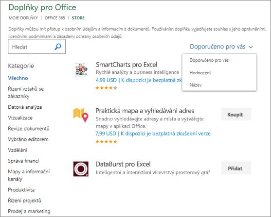 """Snímek obrazovky části úložiště na stránce Office: doplňky, kde můžete vyhledat doplňku tak, že jeho hodnocení, název nebo použijte možnost """"Navrhovaná za vás"""". Můžete taky pomocí vyhledávacího pole zobrazíte doplňky."""