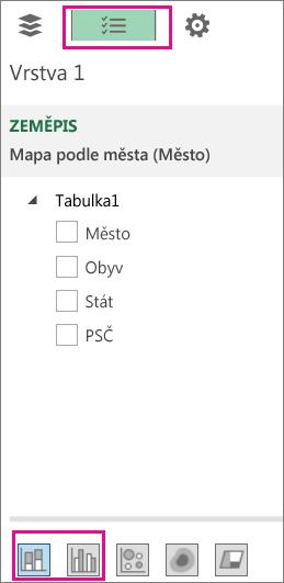 Ikony skládaného a skupinového sloupcového grafu na kartě Seznam polí