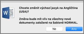Výchozí nastavení jazyka v Office pro Mac