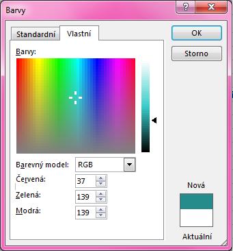 Možnost vlastního směšování barev