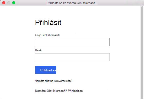 Zadejte přihlašovací údaje pro váš účet Microsoft pro přístup ke službám přidruženého k vašemu účtu.