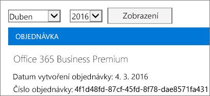 Snímek obrazovky stránky Faktury vCentru pro správu Office 365