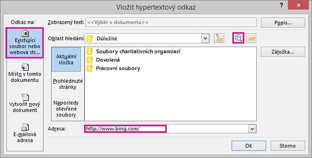 Zobrazí dialogové okno, kde je vybraná možnost vložení odkazu na web