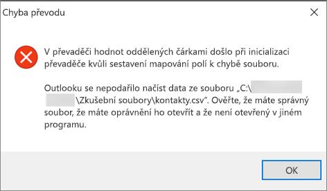 Toto je chybová zpráva, která se zobrazí, pokud je soubor CSV prázdný.