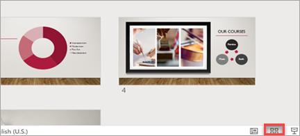 Zobrazuje řazení snímků v prezentaci.