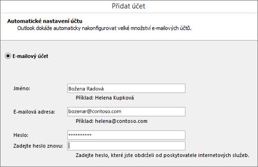 Snímek obrazovky přidání e-mailového účtu do Outlook