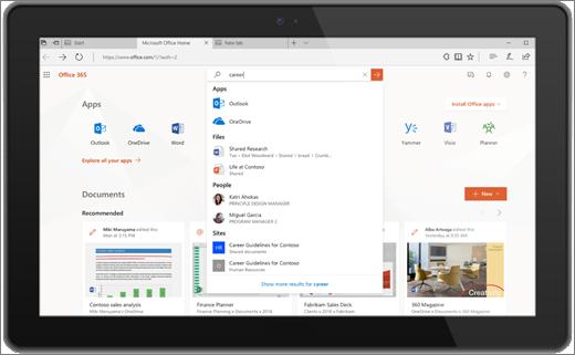 Microsoft Search v Office pro web