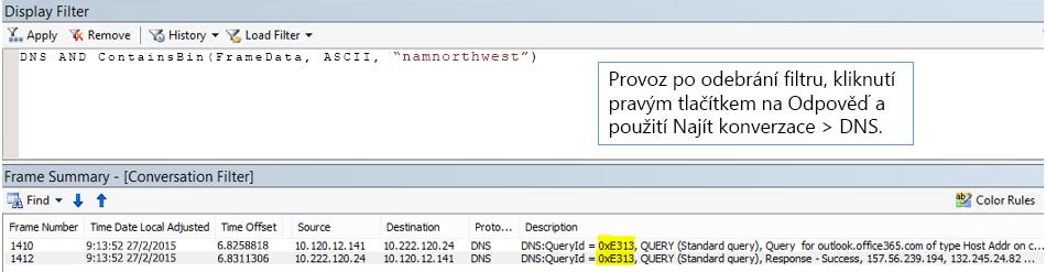 Trasování filtrované podle Hledání konverzací a potom podle DNS.