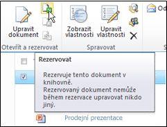 Pás karet služby SharePoint s vybranou ikonou Rezervovat