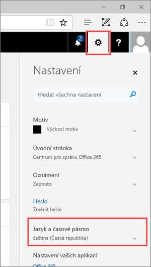Snímek obrazovky: Ikona nastavení na panelu nastavení a nastavení jazyka