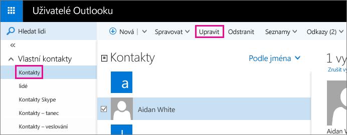 Snímek obrazovky části stránky Lidé v Outlooku Na snímku obrazovky je zaškrtnuté políčko u jména kontaktu a na panelu nástrojů je popisek u příkazu Upravit.
