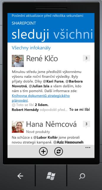 Snímek obrazovky aplikace Newsfeed ve Windows Phone