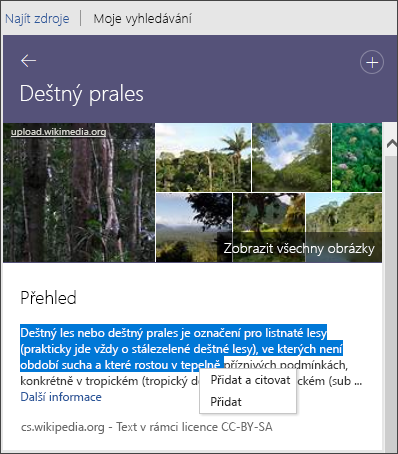 Reseracher umožňuje zobrazit všechny obrázky, přidat text nebo přidat a citovat text.