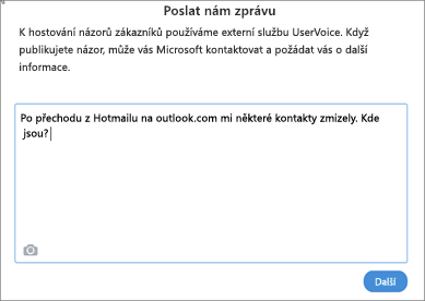 Příklad toho, co můžete napsat, když nám chcete dát vědět, že vaše kontakty chybí
