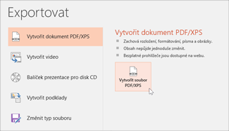 Uložení prezentace jako souboru PDF