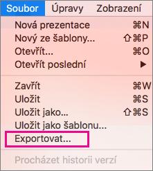 PowerPoint 2016 pro Mac – export do souboru