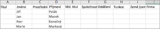 Příklad outlookového souboru CSV otevřeného v Excelu