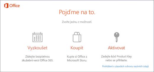 Snímek obrazovky zobrazující výchozí možnosti pro vyzkoušení, zakoupení nebo aktivaci na počítači, ve kterém je Office předinstalovaný.