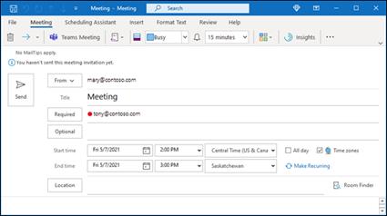 Vyberte tlačítko Finder místností, které vám pomůže najít dostupnou konferenční místnost.