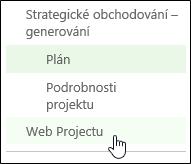 Web Projectu na panelu Snadné spuštění