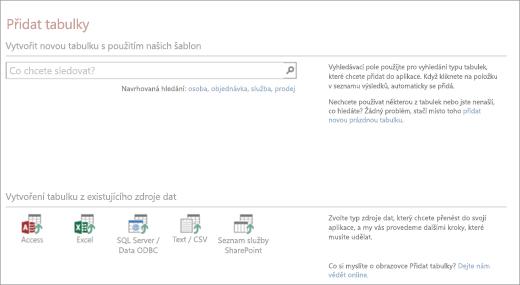 Přidání tabulek do webové aplikace pro Access