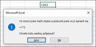 Okno se žádostí, abyste u násobení nahradili znak x znakem *