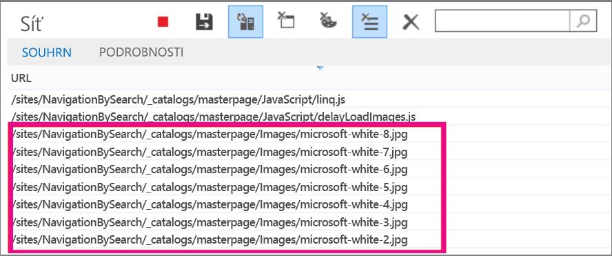 Snímek obrazovky s několika načtenými obrázky na stránce