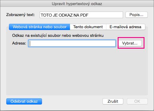 Zobrazí dialogové okno Vložit hypertextový odkaz v PowerPointu 2016 pro Mac