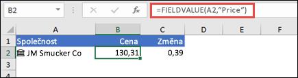 """Načíst cenu akcií společnosti můžete pomocí vzorce =FIELDVALUE(A2;""""Cena"""")."""