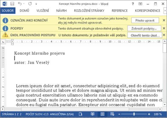 Kontrolovaná položka se třemi panely zpráv