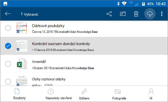 Označení souborů OneDrive k uchování offline