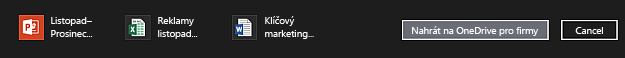 Panel akcí s položkami vybranými k nahrání na OneDrive pro firmy