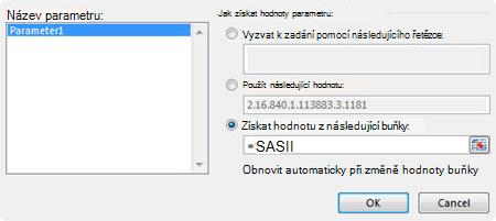 Dialogové okno parametr aplikace MS Query