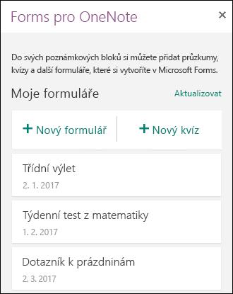 Panel formuláře pro OneNote ve OneNotu pro web