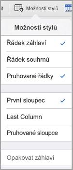 Možnosti stylu tabulky iPad