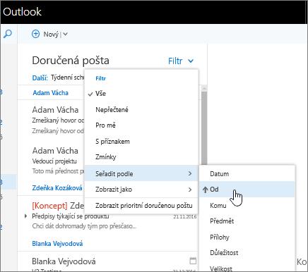 Snímek obrazovky s doručenou poštou a vybranou možností Filtr > Řadit podle > Od.