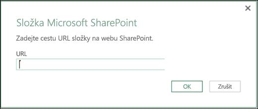 Dialog konektoru sharepointové složky v Power BI v Excelu