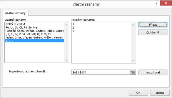Ruční přidání položek vlastního seznamu stisknutím kláves v dialogovém okně Upravit vlastní seznam a na tlačítko Přidat
