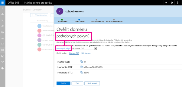 Na stránce Ověření domény postupujte podle pokynů k přidání záznamu TXT u hostitele DNS.
