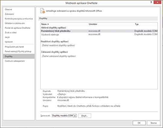 Podokno doplňky pro Office s vybraným poZnámkovým blokem předmětu Část pro správu doplňků modelu COM pomocí tlačítka go