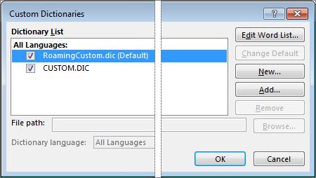 Dialogové okno Vlastní slovníky