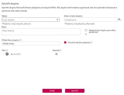 Snímek obrazovky: Pojmenování zásad skupiny blokované v příkladu Stream společnosti Microsoft