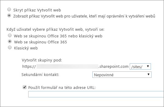 Zobrazit příkaz Vytvořit web