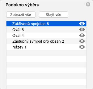 Zobrazuje podokno výběru v PowerPointu 2016 pro Mac.