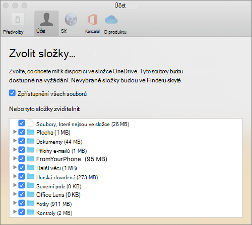 Dialogové okno zvolit složky v okně předvoleb OneDrivu pro Mac
