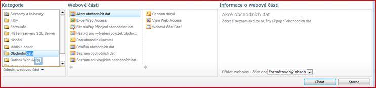 Dialog pro výběr webové části s webovou částí Excel Web Access