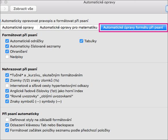 Zvýrazněná možnost Automatické úpravy formátu při psaní v předvolbách