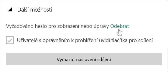 Snímek obrazovky s nabídkou Další možnosti