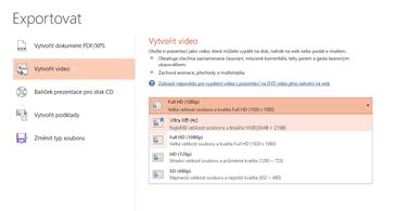 Snímek obrazovky s dialogovým oknem Exportovat a možnostmi dostupnými při vytváření videa z prezentace