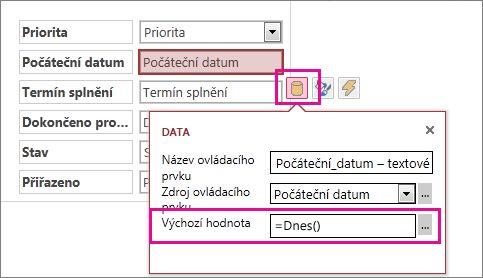 Nastavení výchozí hodnoty datového pole v aplikaci pro Access
